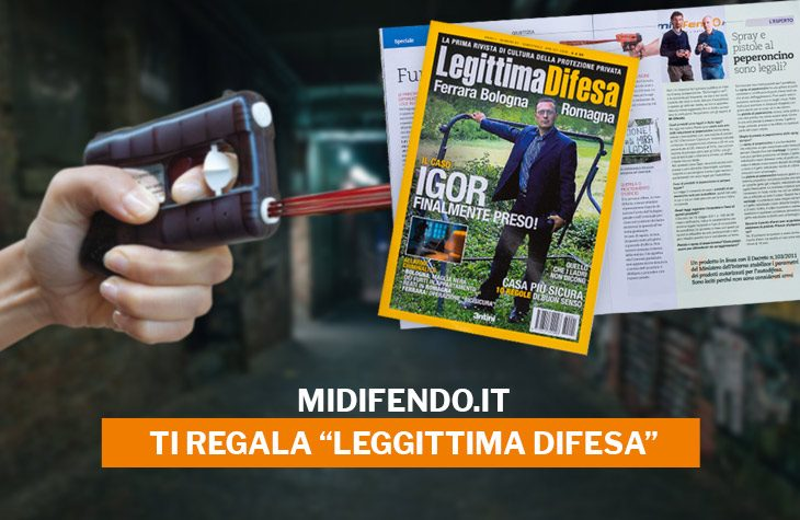 rivista sulla legittima difesa accanto a pistole al peperoncino midifendo